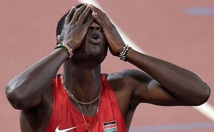 Kenya's Nicholas Bett cannot believe it after winning the men's 400 metres hurdles athletics event at the 2015 IAAF World Championships at the