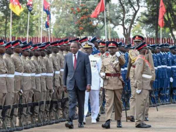 President Uhuru Kenyatta during the passing-out parades for KDF recruits /PSCU