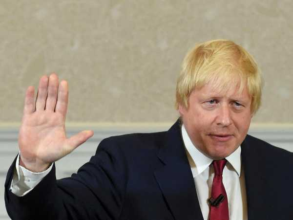 Vote Leave campaign leader, Boris Johnson, waves as he finishes delivering his speech in London, Britain June 30, 2016. Johnson has been appointed as British Foreign Secretary July 13, 2016. Photo/REUTERS