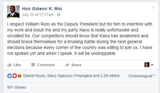 A screenshot of the Facebook post by Mr Moi.