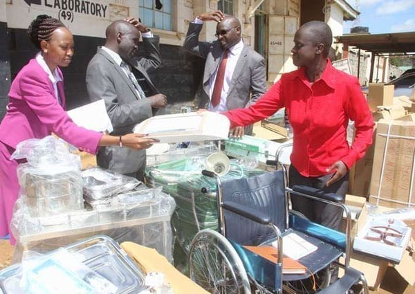 Uasin Gishu County health officials distribute medical equipment to hospitals on December 7, 2015. It has been revealed that reluctance on the part of Homa Bay County Government resulted in the holding of medical equipment in Mombasa port for 19 months. PHOTO   JARED NYATAYA   NATION MEDIA GROUP