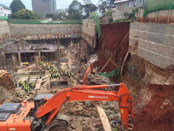 A wall behind Westgate shopping mall in Nairobi that collapsed on July 21, 2016. Photo/COURTESY