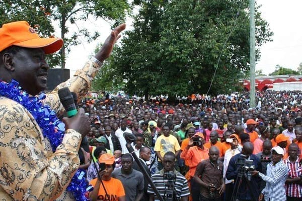 Cord leader Raila Odinga addresses a rally at Shianda, Vihiga County, on July 22, 2016. The former Prime Minister is expected to meet with US leaders on the sidelines of the convention. PHOTO | ISAAC WALE | NATION MEDIA GROUP