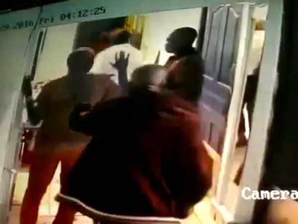 A screenshot of a CCTV camera showing plain clothed police officers from Embakasi police station harassing revelers at a local club./COURTESY
