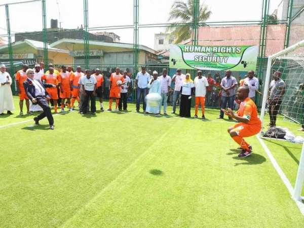 Norwegian Ambassador Victor Rønneberg and Mombasa Governor Hassan Joho during a football match, when the governor officially launched the Youth Engagement and Empowerment Project in Majengo, Mombasa, on Saturday /GPS