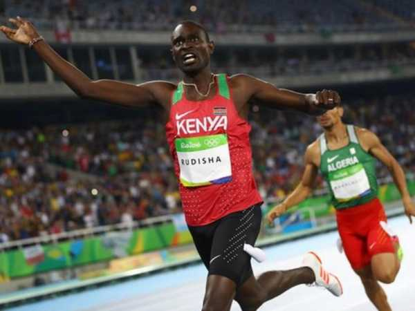 David Rudisha crosses the line to win the Men's 800m gold medal./COURTESY