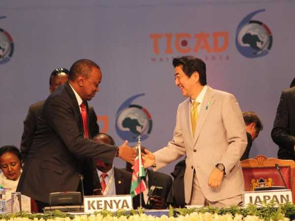 President Uhuru Kenyatta with Japan Premier Shinzo Abe after the closing ceremony of TICAD 6 in Nairobi on August 28, 2016. At the close of TICAD, Uhuru announced Kenya's Sh500m contribution to the Global Fund /ENOS TECHE