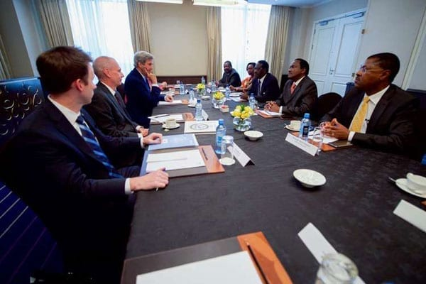 US Secretary of State John Kerry (back to camera centre) when he met Opposition chiefs led by Cord principal Raila Odinga in Nairobi on August 22, 2016. Mr Odinga was accompanied by his co-principals, Mr Kalonzo Musyoka and Mr Moses Wetang'ula, Amani Coalition leader Musalia Mudavadi and Narc Kenya's Martha Karua. PHOTO | STATE DEPARTMENT