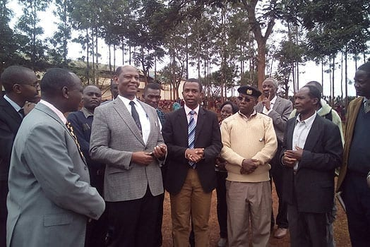 Moi University VC Richard Mibey addressing stakeholders during a site visit to the proposed location of Mama Ngina University College in Mutomo, Gatundu South. PHOTO   MARY WAMBUI