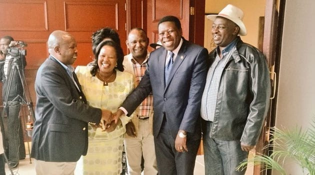 """On Friday, two Jubilee coalition aspirants for post met with eight legislators from the county, to plan how to """"win as many political seats as possible within the city, specifically that of the governor/CFM NEWS"""