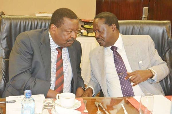 Amani National Congress leader Musalia Mudavadi (left) and Orange Democratic Movement leader Raila Odinga at a meeting in Nairobi hotel on June 18, 2016. Mudavadi says he has no problem working with Raila. PHOTO | NATION MEDIA GROUP