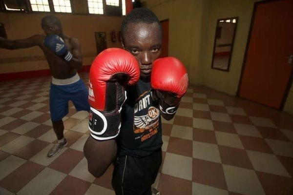 Kenya's Peter Mungai during a training session at Madison Square Gardens, Nakuru on July 14, 2016. He became the first Kenyan boxer to reach the quarter finals at the 2016 Olympic Games with a split decision victory over LV Bin of China on August 8, 2016 at Riocentro Pavilion 6. PHOTO | SULEIMAN MBATIAH |