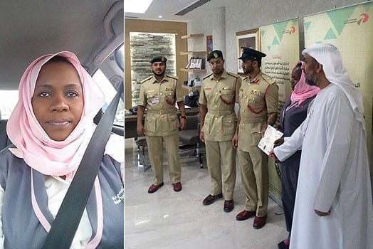 LEFT: Peris Wangechi RIGHT: With senior officers of Dubai police department after she was awarded as the best taxi in the city. PHOTOS | COURTESY