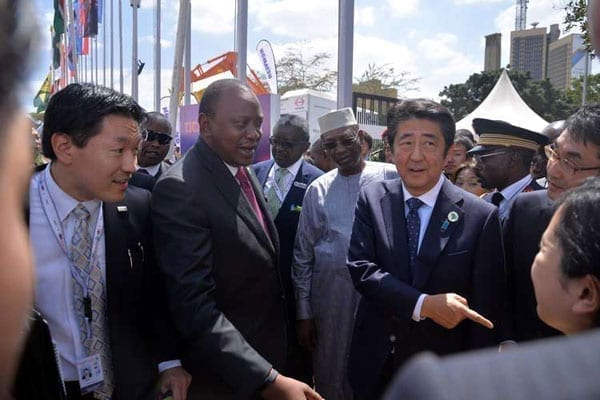 President Uhuru Kenyatta (Second left), Africa Union chairman and president of Chad Idriss Déby and Japan Prime Minister Shinzo Abe during the 6th Tokyo International Conference on African Development (TICAD) opening ceremony at KICC in Nairobi on August 27, 2016. PHOTO | SALATON NJAU | NATION MEDIA GROUP