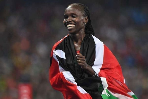 Kenya's Vivian Jepkemoi Cheruiyot celebrates after winning the final of the women's 5,000m race in the athletics event at the 2016 Summer Olympics at the Olympic Stadium in Rio de Janeiro on August 19, 2016. PHOTO   OLIVIER MORIN   AFP