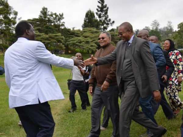 Cord leader Raila Odinga is received by Taita Taveta Governor John Mruttu at the start of a two-day tour of the county, August 14, 2015. /COURTESY