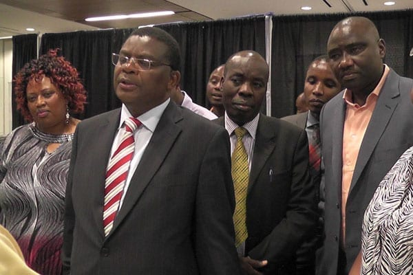 Kenya's ambassador to the US Njeru Githae (second left) with director of Diaspora affairs Washington Oloo and a director of Kingspride Properties Maj (Rtd) David Karau and other delegates during last year's property exhibition held in Dallas, Texas. PHOTO | CHRIS WAMALWA | NATION MEDIA GROUP