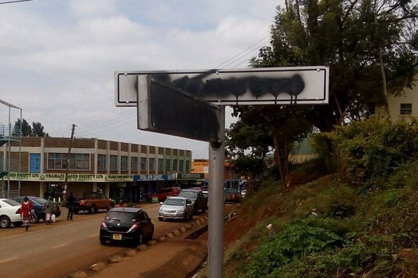 A defaced street sign in Chuka town in Meru County. PHOTO | DAVID MUCHUI | NATION MEDIA GROUP