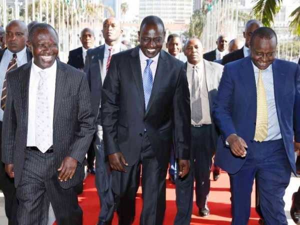 DP William Ruto, National Assembly Budget committee chairman Mutava Musyimi and Treasury CS Henry Rotich arrive for the launch of the budget-making process for financial year 2016/17 at the KICC in Nairobi, July 2016. /DPPS