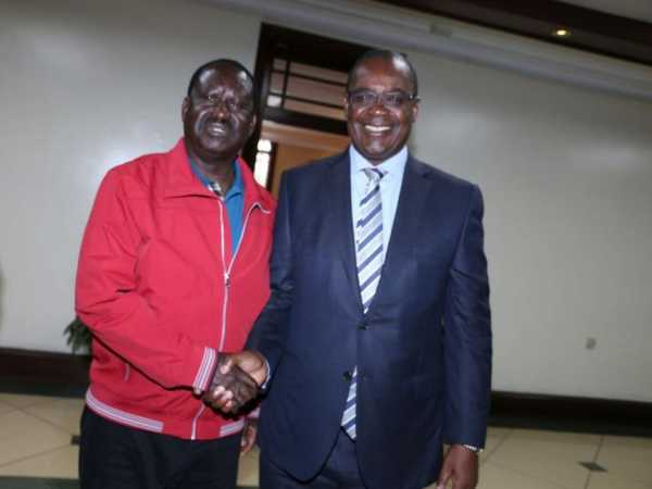 Cord leader Raila Odinga with Nairobi Governor Evans Kidero when he paid him a courtesy call at City Hall on Friday September 2, 2016./FILE
