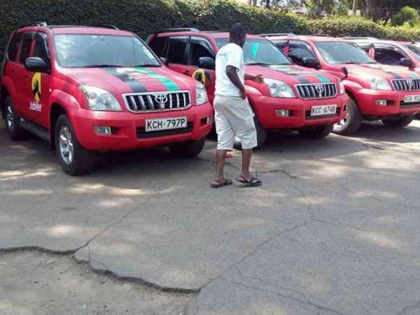 Newly branded Jubilee Party cars that will be used for campaigns in the run-up to the August 8, 2017 general election. /COURTESY