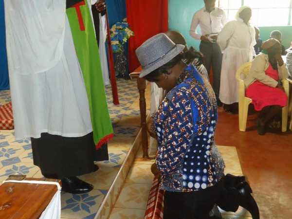 Runyenjes MP Cecily Mbarire is prayed for at the National Independent Church of Africa, Kairuri, on Sunday /REUBEN GITHINJI