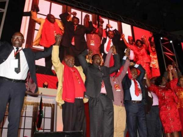 Some of the opposition MPs who defected to Jubilee Party during the national convention meeting at Safaricom Stadium Kasarani in Nairobi, September 10, 2016. /FILE