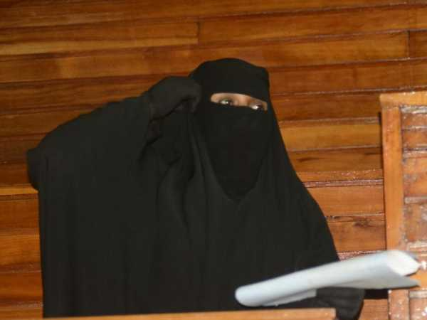 A file photo of Aboud Rogo's wife Haniya Saggar during a case on her husbands' murder. /FILE