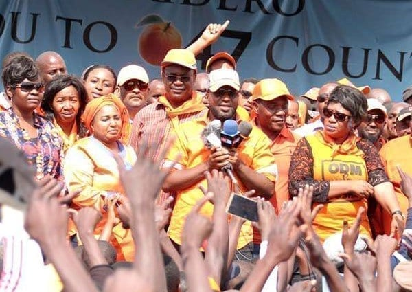 Mombasa Governor Hassan Joho leads other members of the Orange Democratic Movement in a public rally at Masinde Muliro grounds in Huruma on September 18, 2016. He led them in declaring party leader Raila Odinga the 2017 presidential race flagbearer. PHOTO | DENNIS ONSONGO | NATION MEDIA GROUP