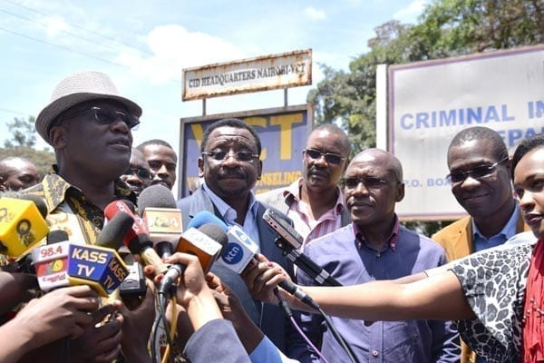 Machakos Senator Johnson Muthama (left) and his Siaya counterpart James Orengo after speaking to journalists yesterday at Parliament Buildings in Nairobi. Kakamega Senator Boni Khalwale (right) held a separate press briefing at the same venue. PHOTO | SALATON NJAU |