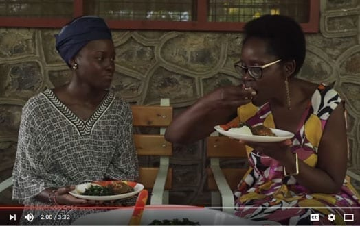 A screenshot from an online video shows Oscar Award winning actress Lupita Nyong'o and her mother sampling a meal of ugali and vegetables that the actress made. PHOTO | COURTESY