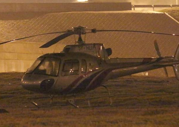Eurocopter AS-350, which was carrying Bomet Governor Isaac Ruto, on southern bypass on September 25, 2016. PHOTO | DENNIS ONSONGO | NATION MEDIA GROUP