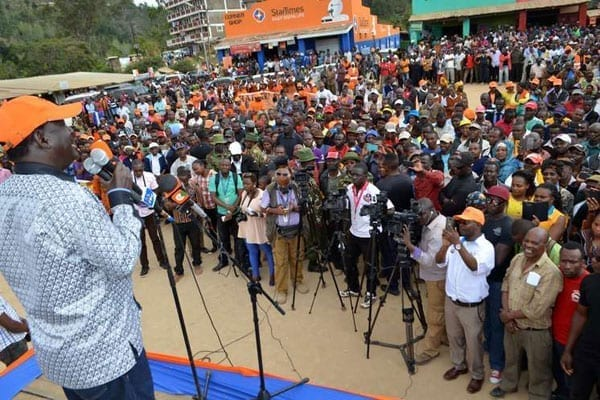 ODM leader Raila Odinga addresses a rally at the Wundanyi bus stage in Taita-Taveta County on September 21, 2016. He told defectors to officially resign and defend their seats in by-elections. PHOTO | KEVIN ODIT | NATION MEDIA GROUP