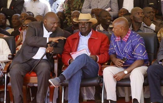 Narok Governor Samuel Tunai (left) and his K counterpart from Kajiado talk with Cord leader Raila Odinga at the home of late Minister William Ole Ntimama in Motonyi village in Narok on September 12, 2016. PHOTO | SULEIMAN MBATIAH