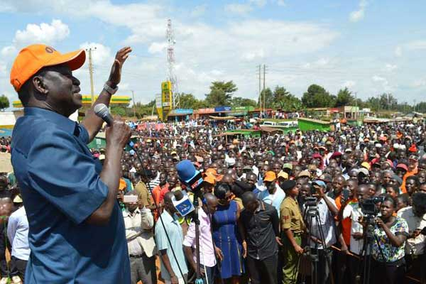 Cord leader Raila Odinga addressing a rally at Sabatia in Butere Constituency,  Kakamega county on September 5, 2016. Cord leader has told governors and MPs planning to defect to Jubilee Party to do so now. PHOTO   ISAAC WALE  
