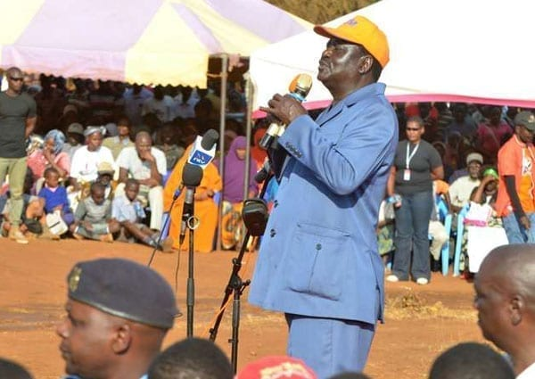 ODM leader Raila Odinga addresses his supporters at KIE Grounds in Taveta town, Taita Taveta County, on  September 20, 2016. He said members are free to join Jubilee Party if they want to. PHOTO   KEVIN ODIT   NATION MEDIA GROUP