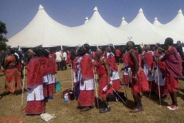 Members of the Narok County Assembly choir rehearse to receive Mr Ntimama's remains.
