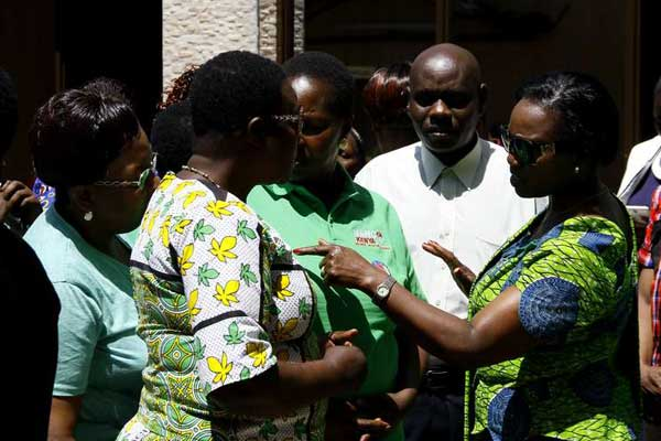 Narc Kenya leader Martha Karua (right) speaks