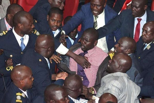 A scuffle at the Nairobi County Assembly on October 4, 2016. PHOTO | DENNIS ONSONGO | NATION MEDIA GROUP
