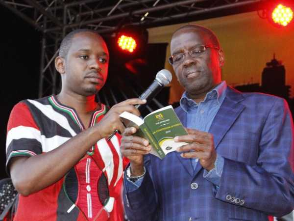 A file photo of retired Chief Justice Willy Mutunga and activist Boniface Mwangi.