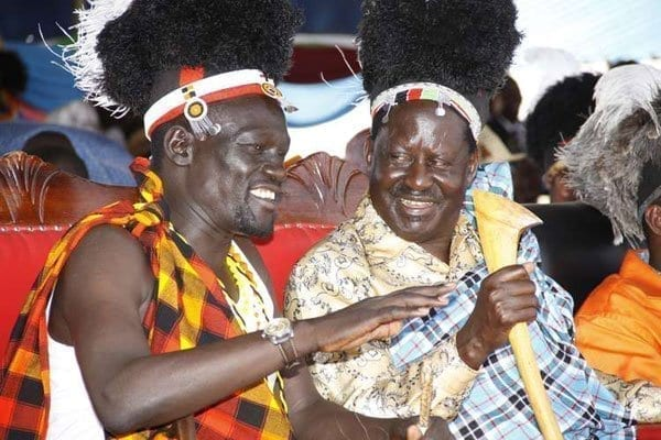 Cord Leader Raila Odinga (right) and Turkana County Governor Josphat Nanok during the 3rd edition of the Turkana County Tourism and Cultural Festivals 'Tobong'u Lore' held at Ekalees Centre in Lodwar on August 27, 2016. PHOTO | JARED NYATAYA | NATION MEDIA GROUP