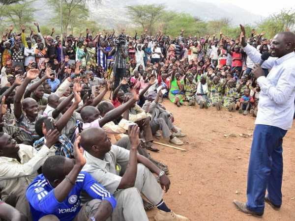 Deputy President  William Ruto addresses residents of Arror in Elegyo Marakwet County. Mr Ruto laid a foundation stone for Arror Police Station in the area. The Police station will boost security in the area. PICTURE REBECCA NDUKU/DPPS