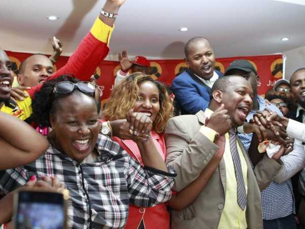 Jubilee's 'Team Nairobi' joins Senator Mike Sonko in celebrations at Jubilee Party headquarters after he presented his nomination papers for the governor race, March 17, 2017. /MONICAH MWANGI