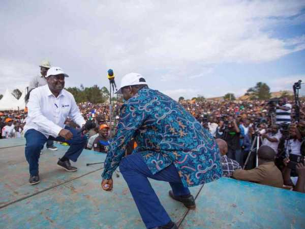 Opposition leaders Musalia Mudavadi (Amani) and Raila Odinga (ODM, Cord) during their tour of Eldoret, February 25, 2017. /COURTESY