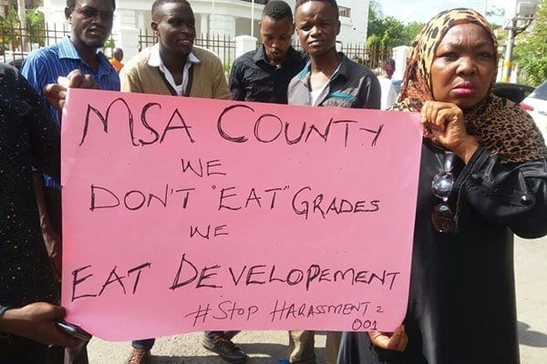 Mr Joho's supporters protest in the streets of