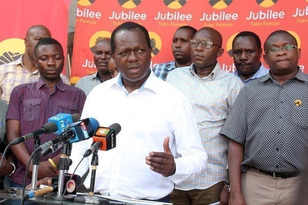 Jubilee Party Secretary General Raphael Tuju and other party officials addressing the media at Jubilee House, Pangani, Nairobi on Sunday, 26 March 2017. Mr Tuju condemned violence by sponsored goons witnessed in various Jubilee zones. PHOTO | DENNIS ONSONGO | NATION MEDIA GROUP