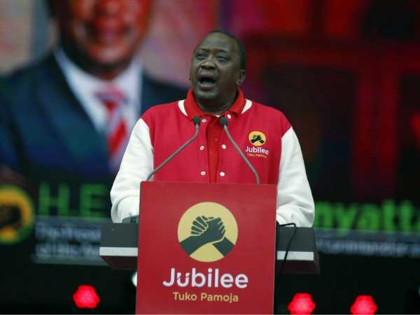 President Uhuru Kenyatta makes a key note address to launch the launch of the Jubilee Party at Safaricom Stadium in Nairobi on Septermber 10, 2016. Photo/Jack Owuor