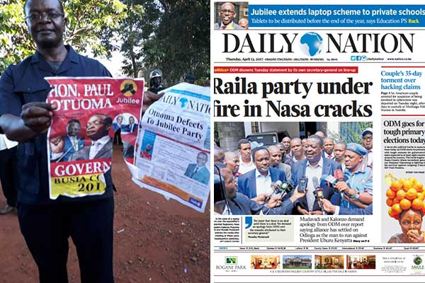 ODM aspirant for the Busia governor's seat Paul Otuoma displays a fake campaign poster and a fake Nation leaflet purporting he had defected to Jubilee from ODM. On the right is the real copy of the Daily Nation of April 13, 2017. PHOTOS | GAITANO PESA & NATION MEDIA GROUP