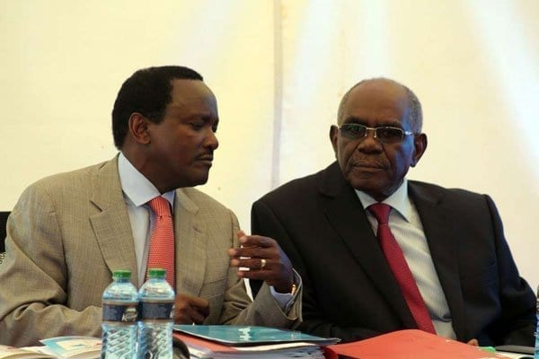 Wiper Party leader Kalonzo Musyoka (left) and party national chairman David Musila who was defeated in the Kitui gubernatorial nominations by incumbent Julius Malombe. PHOTO   DENNIS ONSONGO   NATION MEDIA GROUP