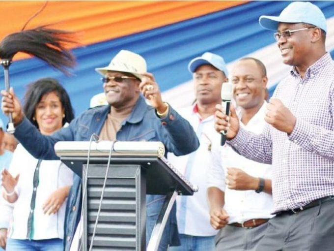 ODM's Nairobi woman representative candidate Esther Passaris, Machakos Senator Johnson Muthama, Nairobi Deputy Governor Jonathan Mueke and Governor Evans Kidero during a meeting with the Kamba community in City Stadium, Nairobi, yesterday. /JULIUS OTIENO